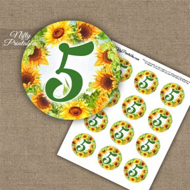 5th Birthday Anniversary Cupcake Toppers - Sunflowers
