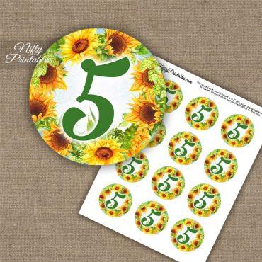 5th Birthday Anniversary Cupcake Toppers - Sunflowers