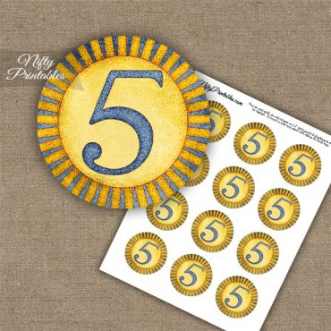 5th Birthday Anniversary Cupcake Toppers - Sunshine Illustrated