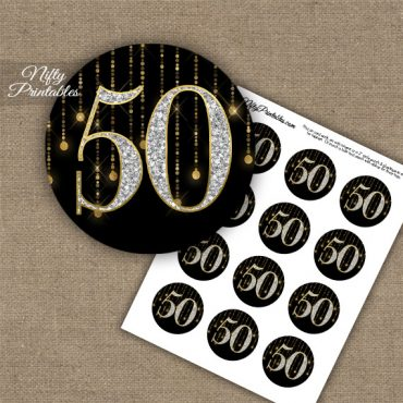 50th Birthday Anniversary Cupcake Toppers - Diamonds Black Gold