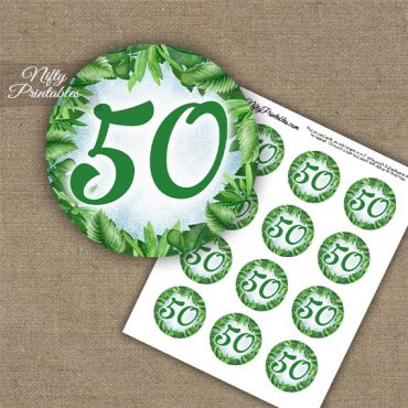 50th Birthday Anniversary Cupcake Toppers - Greenery
