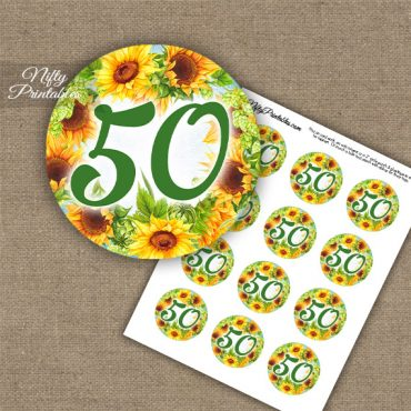 50th Birthday Anniversary Cupcake Toppers - Sunflowers