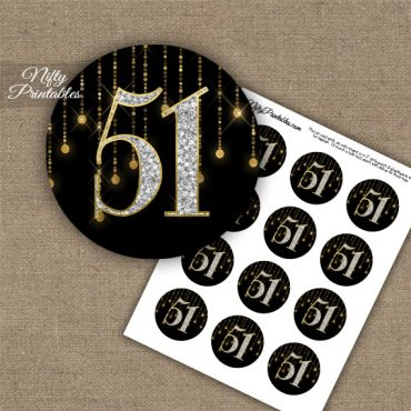51st Birthday Anniversary Cupcake Toppers - Diamonds Black Gold