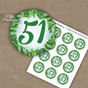 51st Birthday Anniversary Cupcake Toppers - Greenery