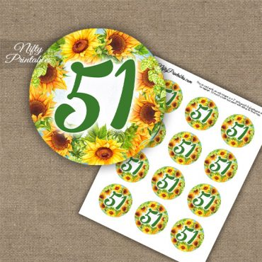 51st Birthday Anniversary Cupcake Toppers - Sunflowers