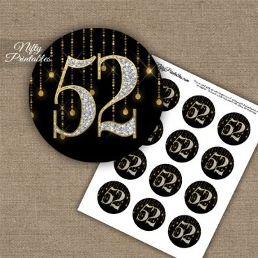 52nd Birthday Anniversary Cupcake Toppers - Diamonds Black Gold