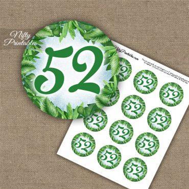 52nd Birthday Anniversary Cupcake Toppers - Greenery