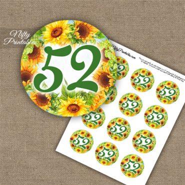 52nd Birthday Anniversary Cupcake Toppers - Sunflowers