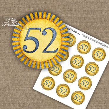 52nd Birthday Anniversary Cupcake Toppers - Sunshine Illustrated