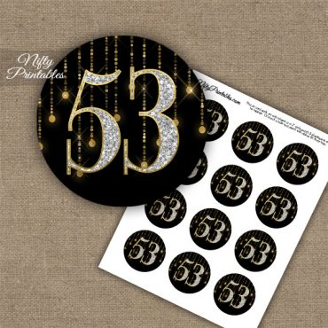 53rd Birthday Anniversary Cupcake Toppers - Diamonds Black Gold