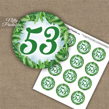 53rd Birthday Anniversary Cupcake Toppers - Greenery