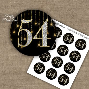 54th Birthday Anniversary Cupcake Toppers - Diamonds Black Gold