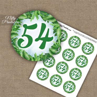 54th Birthday Anniversary Cupcake Toppers - Greenery