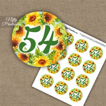 54th Birthday Anniversary Cupcake Toppers - Sunflowers