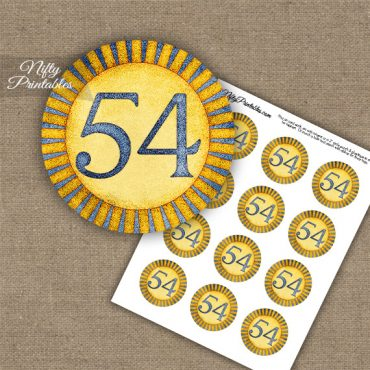 54th Birthday Anniversary Cupcake Toppers - Sunshine Illustrated