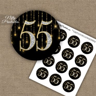 55th Birthday Anniversary Cupcake Toppers - Diamonds Black Gold