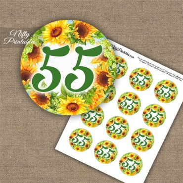 55th Birthday Anniversary Cupcake Toppers - Sunflowers