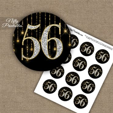 56th Birthday Anniversary Cupcake Toppers - Diamonds Black Gold