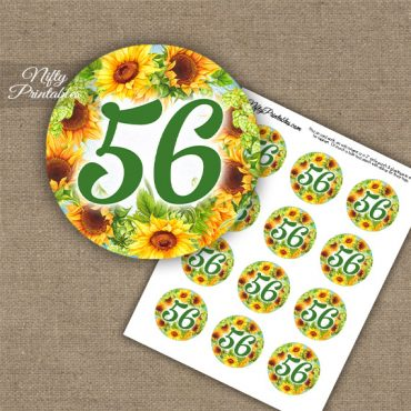 56th Birthday Anniversary Cupcake Toppers - Sunflowers