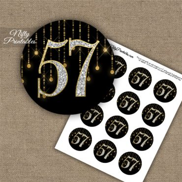 57th Birthday Anniversary Cupcake Toppers - Diamonds Black Gold