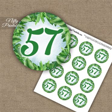 57th Birthday Anniversary Cupcake Toppers - Greenery