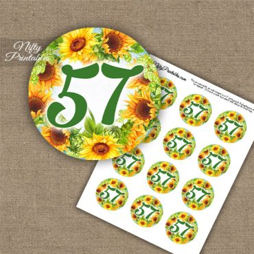 57th Birthday Anniversary Cupcake Toppers - Sunflowers