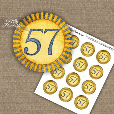 57th Birthday Anniversary Cupcake Toppers - Sunshine Illustrated