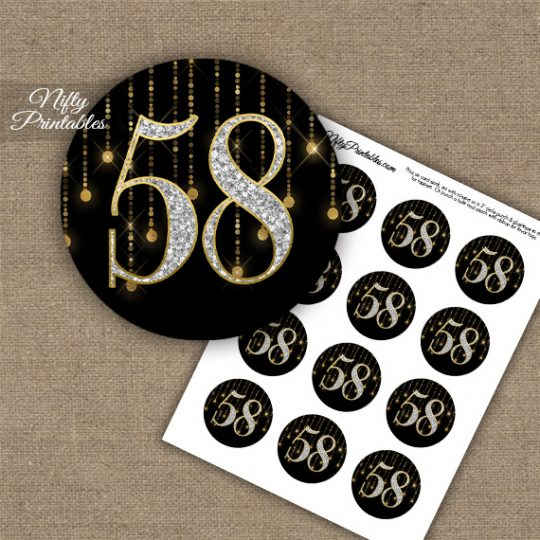 58th Birthday Anniversary Cupcake Toppers - Diamonds Black Gold