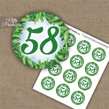 58th Birthday Anniversary Cupcake Toppers - Greenery