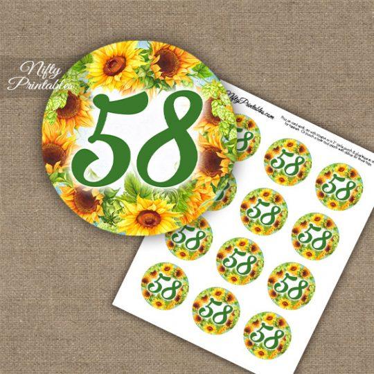 58th Birthday Anniversary Cupcake Toppers - Sunflowers