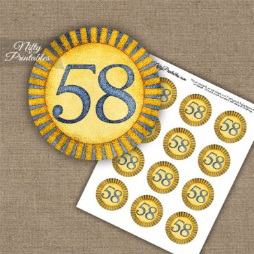 58th Birthday Anniversary Cupcake Toppers - Sunshine Illustrated