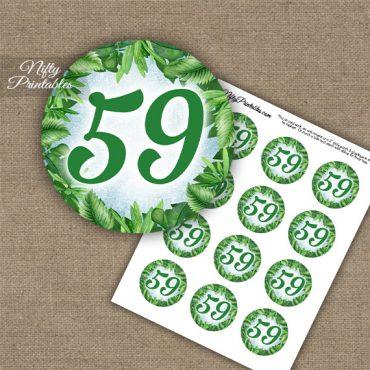 59th Birthday Anniversary Cupcake Toppers - Greenery