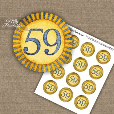 59th Birthday Anniversary Cupcake Toppers - Sunshine Illustrated
