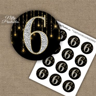 6th Birthday Anniversary Cupcake Toppers - Diamonds Black Gold