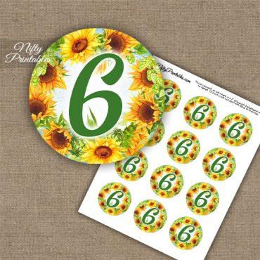 6th Birthday Anniversary Cupcake Toppers - Sunflowers