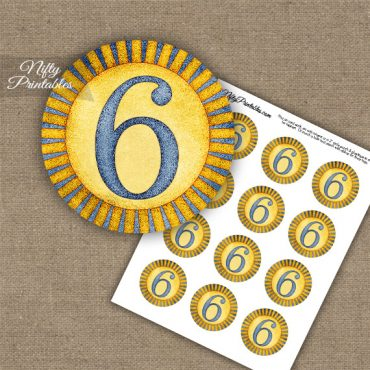 6th Birthday Anniversary Cupcake Toppers - Sunshine Illustrated