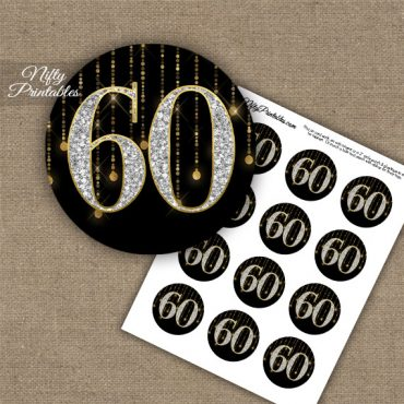 60th Birthday Anniversary Cupcake Toppers - Diamonds Black Gold