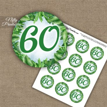 60th Birthday Anniversary Cupcake Toppers - Greenery