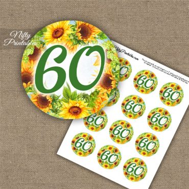 60th Birthday Anniversary Cupcake Toppers - Sunflowers