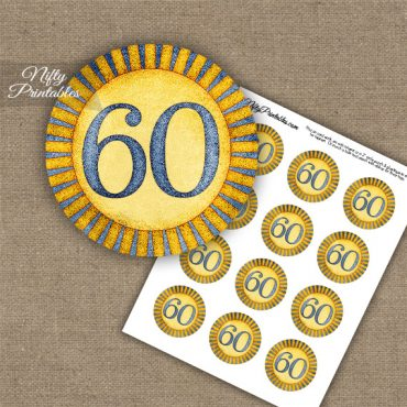 60th Birthday Anniversary Cupcake Toppers - Sunshine Illustrated