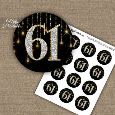 61st Birthday Cupcake Toppers - Diamonds Black Gold