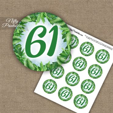 61st Birthday Cupcake Toppers - Greenery