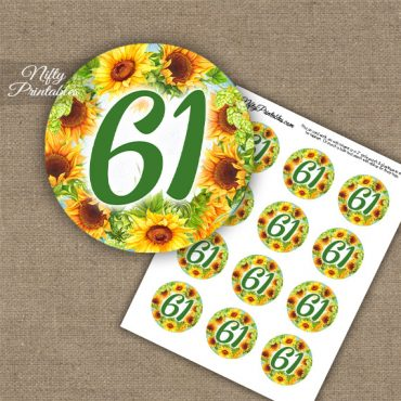 61st Birthday Cupcake Toppers - Sunflowers