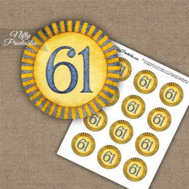 61st Birthday Cupcake Toppers - Sunshine Illustrated