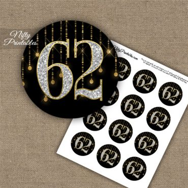 62nd Birthday Cupcake Toppers - Diamonds Black Gold