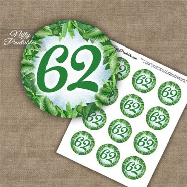 62nd Birthday Cupcake Toppers - Greenery