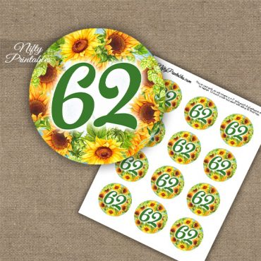 62nd Birthday Cupcake Toppers - Sunflowers