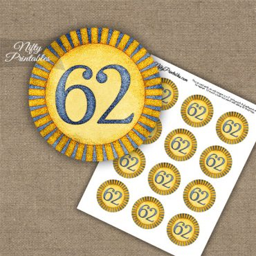 62nd Birthday Cupcake Toppers - Sunshine Illustrated