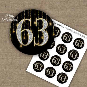 63rd Birthday Cupcake Toppers - Diamonds Black Gold