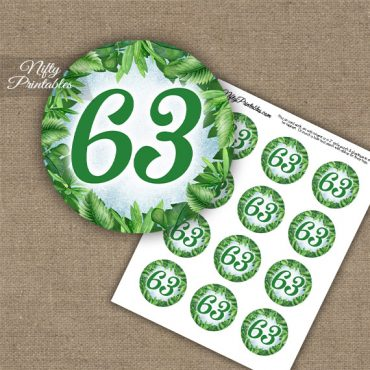 63rd Birthday Cupcake Toppers - Greenery